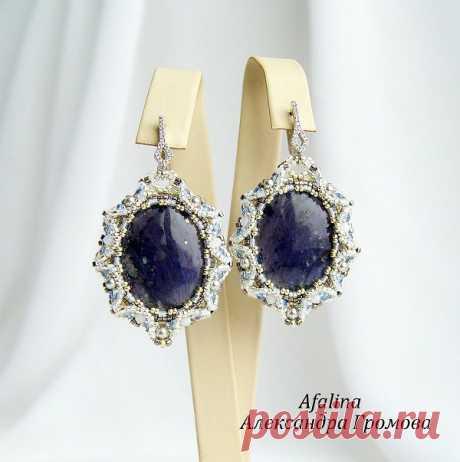"""Купить Серьги """"Окленд"""" - фиолетовый, синий, серебряный, белый, шайтанит, Сваровски, серьги, серьги с камнем"""
