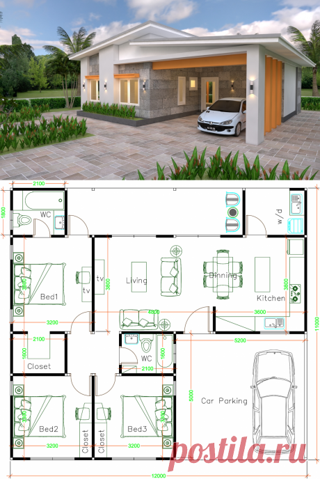 House Plans 12x11 with 3 Bedrooms Shed Roof - House Plans 3D