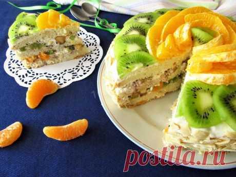 Торт бисквитный с фруктами рецепт с фото пошагово - 1000.menu