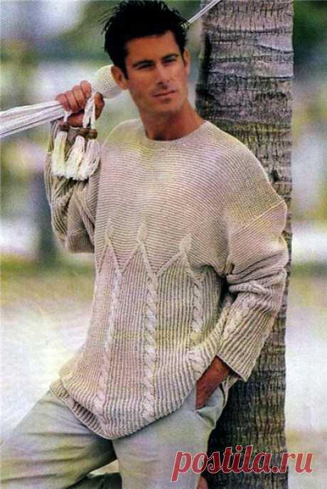Светло-серый мужской пуловер. Светло-серый мужской пуловер. В статье представлены подробное текстовое описание вязания спицами данной модели и схема узора.