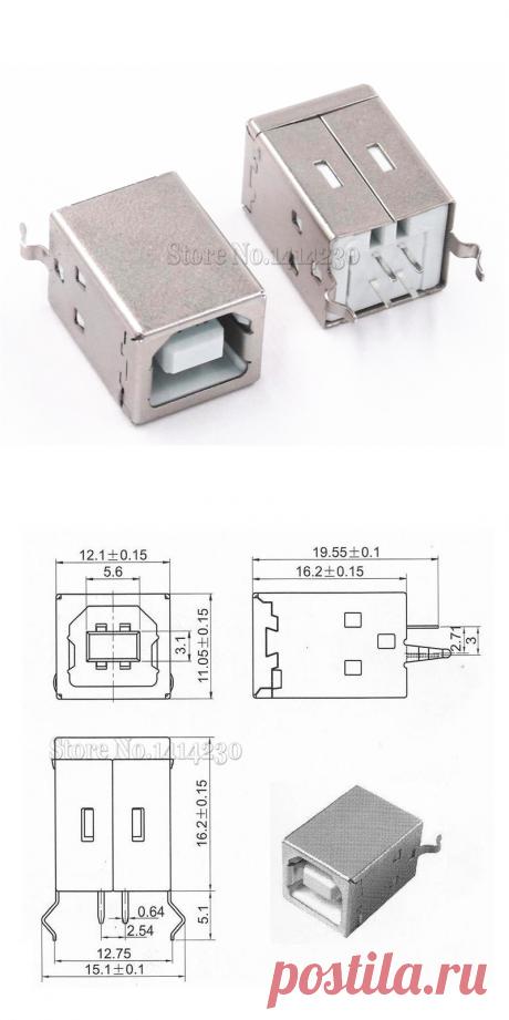 Квадратный USB разъем USB B Type Female, 10 шт., 180 градусов, PCB сварочный родительский разъем для передачи данных о принтере|connector for pcb|connector femaleconnector usb | АлиЭкспресс