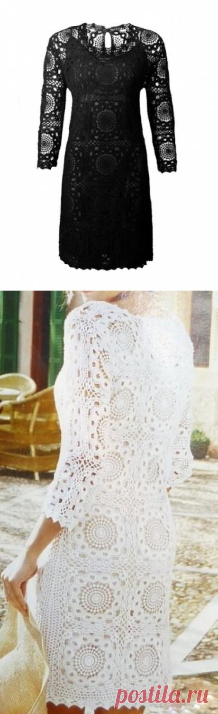 .Шикарное платье из мотивов.