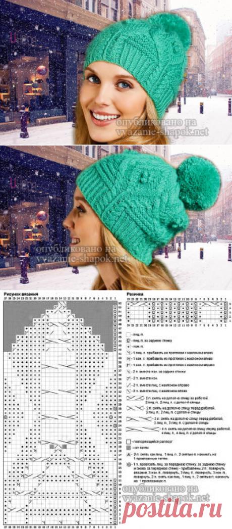 Вязаная шапка с помпоном от Natasja Hornby | Вязание Шапок Спицами и Крючком