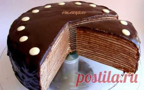 Шоколадный торт из блинов с банановым заварным кремом | Кулинарные рецепты от «Едим дома!»
