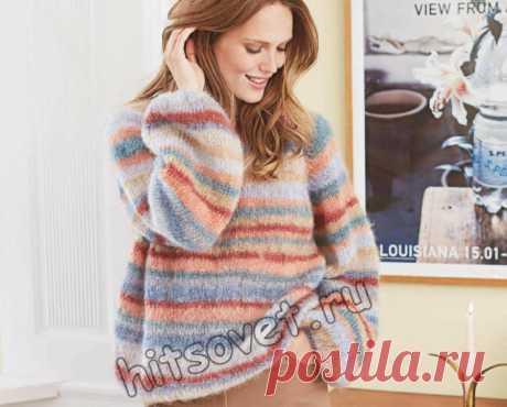Мохеровый цветной полосатый пуловер - Хитсовет