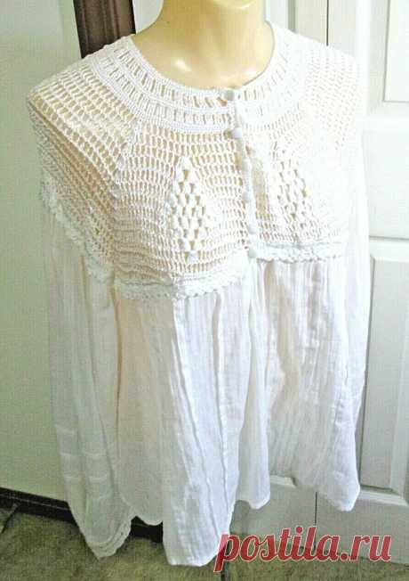Free People  Crochet White Lace Cropped Top Size XS Cotton Boho Long Sleeve Product on Gem