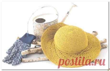 Летняя шляпка с широкими ажурными полями. Крючком. Схемы. / knittingideas.ru