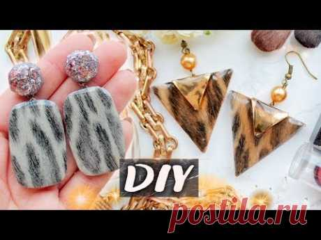 AWESOME Earrings with L●E●O●P●A●R●D Print and Epoxy Resin ▼ EASY DIY