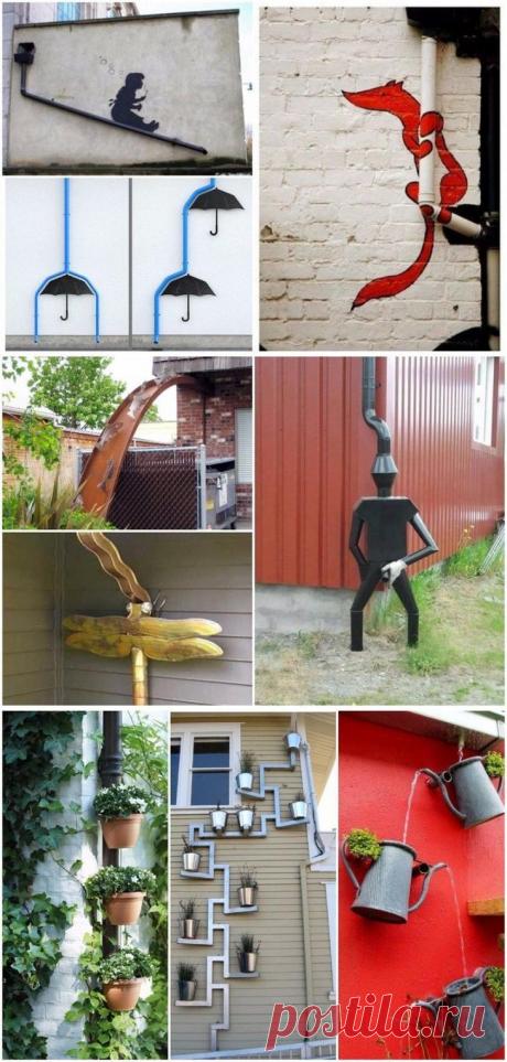 Оригинальные идеи необычных водостоков для крыши