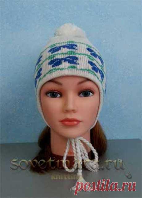 Как связать детскую двойную шапку с ушками и орнаментом (однофонтурная). Урок 2