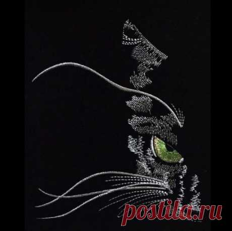 Необычные идеи для контурной вышивки на черном фоне