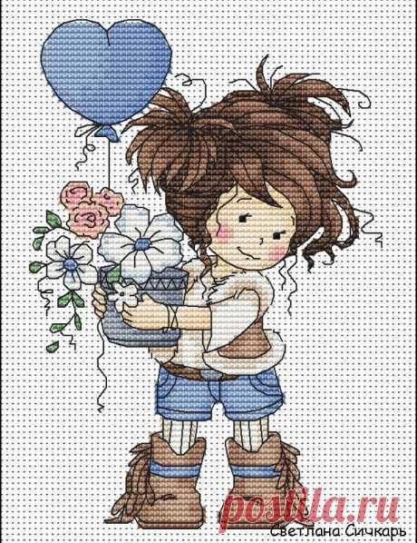 #Авторские_схемы@clubrucodelnic #Детское@clubrucodelnic Девочка с цветами  Дизайнер : Светлана Сичкарь — https://vk.com/sa_stitch  Схема  Жмите на картинку