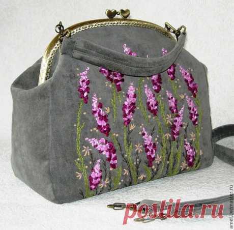 """Купить Сумка """"Там, где цветет вереск"""" - серый, цветочный, сумка женская, сумка"""