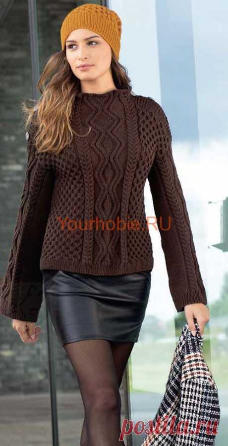 Рельефный пуловер связанный спицами | УЮТНЫЙ ДОМ Рельефный пуловер связанный спицами и шапка с узорами соты. Пуловер женский для городских модниц. Пуловеры вязанные спицами, удлиненный пуловер
