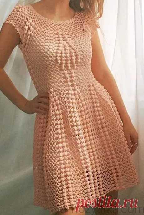 Вязаное летнее платье крючком By Beleza, схема