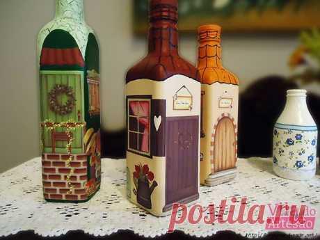 Бутылки-домики от Lis Maria Gonçalves, Бразилия. Декупаж и роспись / Популярная астрономия