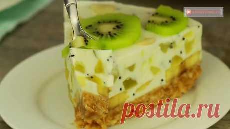 Торт без выпечки, для любителей бананов и киви!