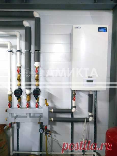 🔥 Монтаж системы отопления с электрокотлом. На первом этаже в ремонтной зоне установлены тепловентиляторы и проложены трассы для дальнейшего подключения тепловых завес.