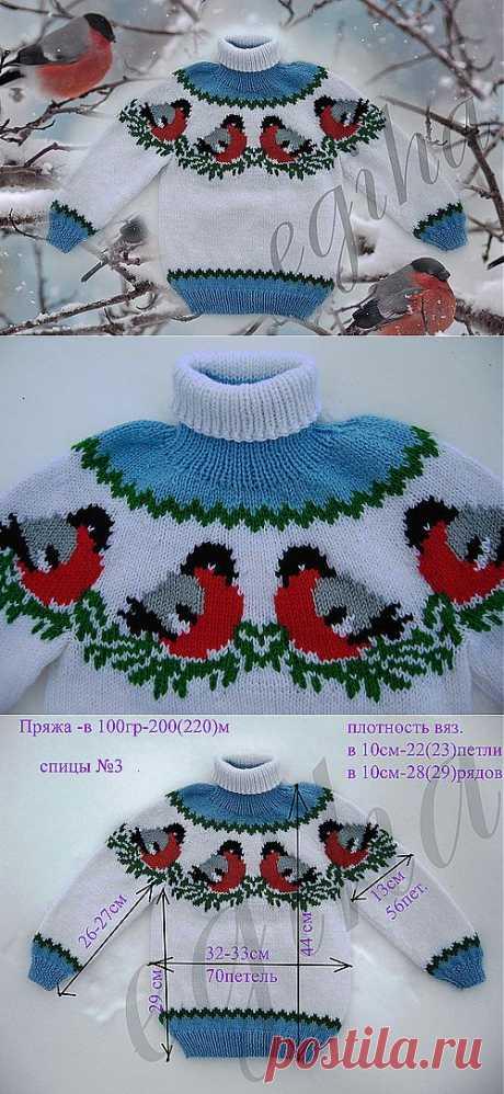 """Вязаный детский свитер """"Снегири на снегу"""" от Елены Жигановой   Умелые ручки"""