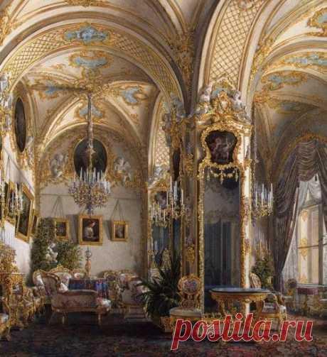 a-l-ancien-regime: Interiors of the Winter Palace. The Drawing Room in Rococo II Style, with Cupids - Edward Petrovich Hau - Hermitage Museum (1860s) \/ la Fuente: villa-rosie.tumblr.com   Pinterest • el catálogo Mundial de las ideas