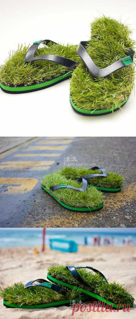 Ультрамодные в этом сезоне сандалии с искусственной травой! Прелесть!^_^