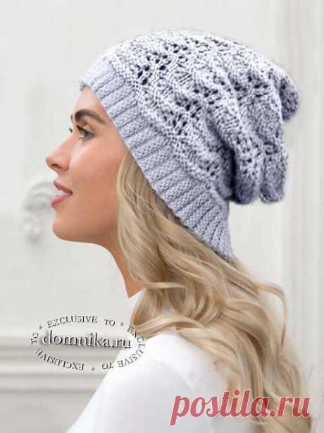 Вязаная шапка спицами для женщин - схема вязания шапки и описание бесплатно