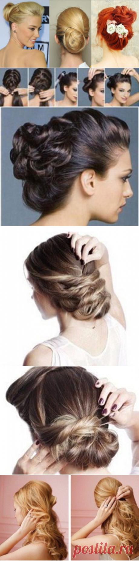 Los peinados de tarde a los cabellos medios