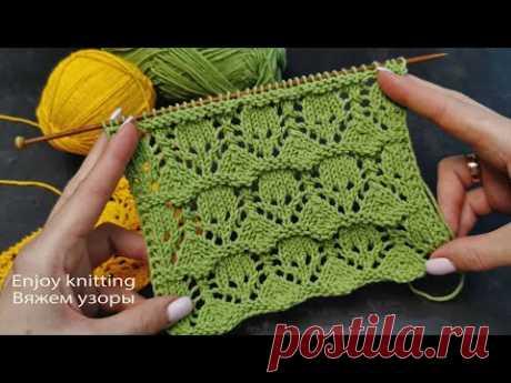 АЖУРНЫЙ Узор Спицами для Палантина / Шали | Lace knitting pattern for scarf / shawl