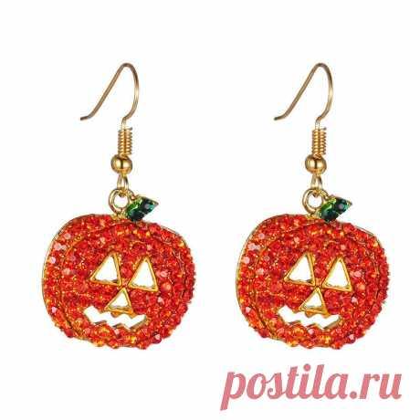 Halloween pumpkin ear drop jewelry christmas party earrings rhinestones fashion earrings accessories Sale - Banggood.com