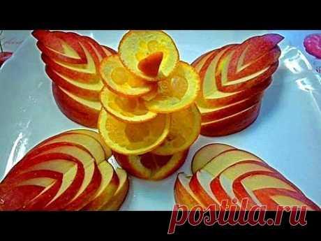 Adornamientos de la manzana y la naranja. Como formalizar hermosamente la mesa. Decorations of fruits