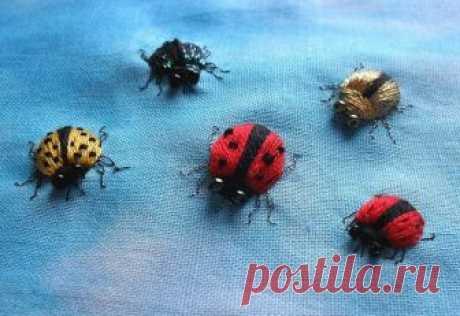 Вышиваем объемных насекомых
