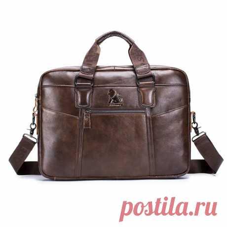 Cowhide leather business briefcase laptop bag retro men's bag shoulder bag crossbody bag handbag for 14 inch notebook Sale - Banggood.com
