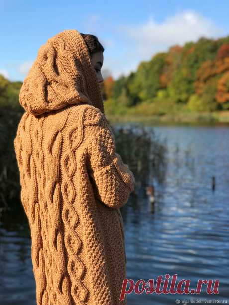 Knitted coat with diamonds in camel color – купить на Ярмарке Мастеров – JP3IQCOM | Пальто, Yoshkar-Ola