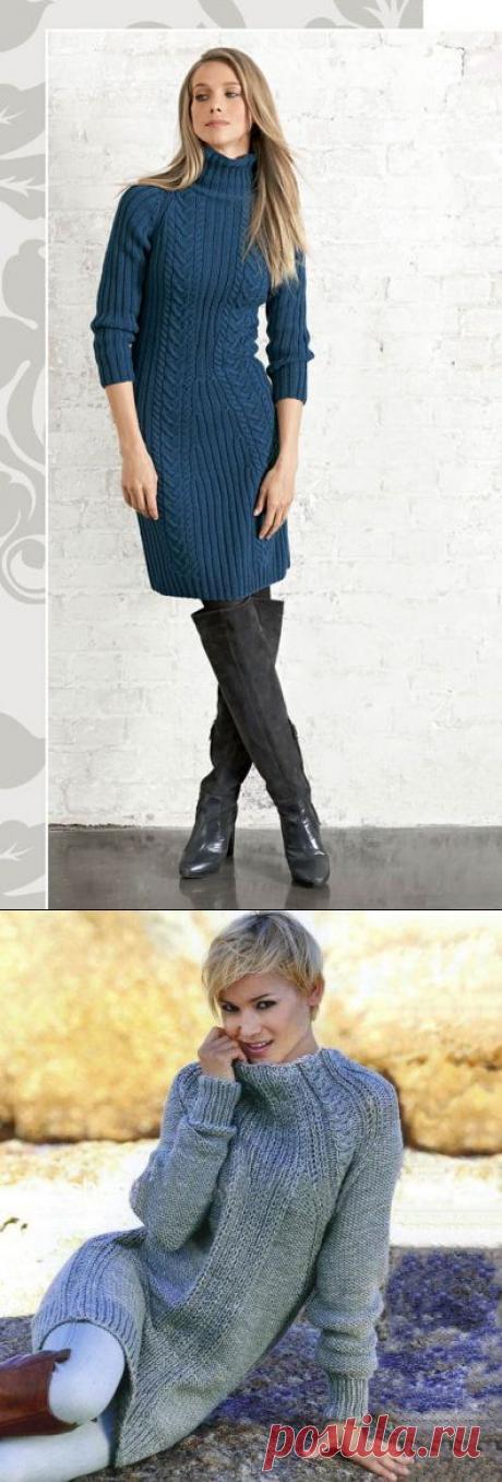 Платья с рукавом реглан стройнящие фигуру спицами – 2 схемы вязания с описанием