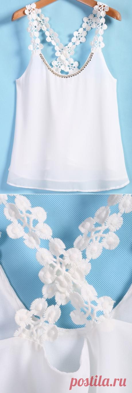 Белая кружевная шифоновая майка на бретельках   SHEIN