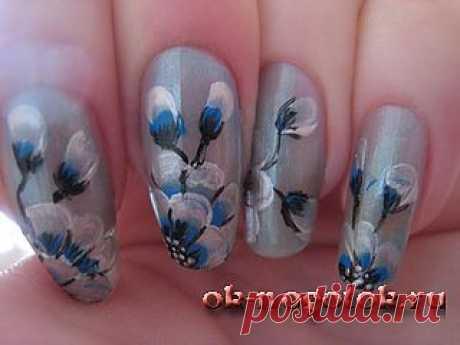 Пошаговый фотоурок рисунков на ногтях красками | Ноготок, мои рисунки на ногтях