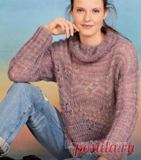 Ажурный свитер в полоску схема спицами » Люблю Вязать