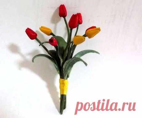МК Букет тюльпанов из кожи – HandMade39.ru