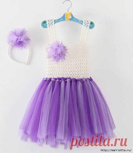 Платьице с вязаным верхом и туту юбочкой для маленькой принцессы.