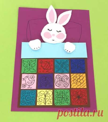"""Аппликация для малышей из бумаги и ватных дисков """"Одеяло для зайки"""""""