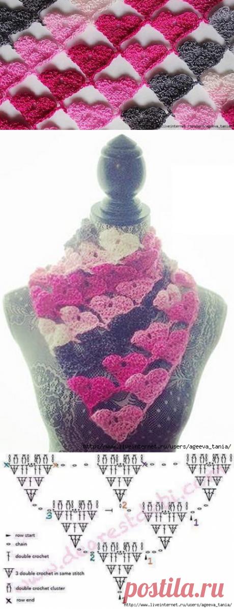 Сердечное вязание - шарфик крючком.