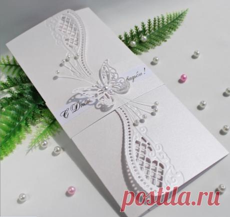 Свадебный конверт для денег - нежный, нарядный, ажурный украсит подарок и сделает его незабываемым.