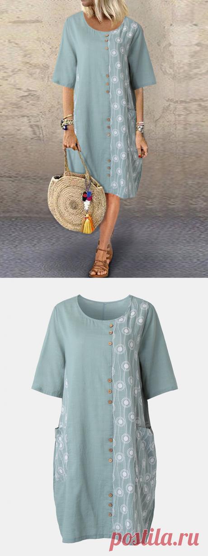 Hot saleЛоскутная пуговица с цветочным принтом O-образным вырезом Midi Платье Cheap - NewChic