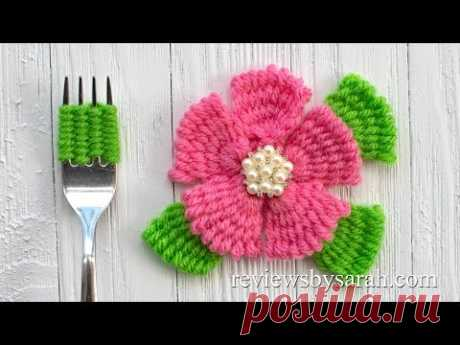 How to Make a Yarn Flower with a Fork - Weaving and Embroidery Crafts