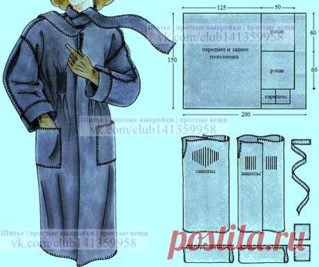 Пальто без боковых швов, сшитое ручными обметочными стежками. #простыевыкройки #простыевещи #шитье #пальто #выкройка