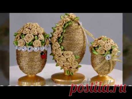 Easter souvenirs from tapes, the Eggs decorated with tapes, a gift for Easter, hand-made articles from tapes kanzash