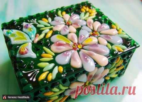 Шкатулка из стекла Весеннее настроение, фьюзинг купить в Беларуси HandMade, цены в интернет магазинах