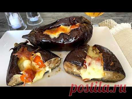 Фаршированный баклажан с моцареллой и черри – кулинарный рецепт