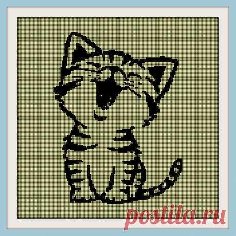 Kitten Cross Stitch Pattern for Beginners PDF Embroidery | Etsy