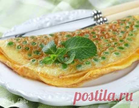 Омлет с мятой и зеленым горошком . Ингредиенты: яйца куриные, горошек зеленый замороженный, сыр твердый Один из вариантов вкусного завтрака от Юлии Высоцкой.